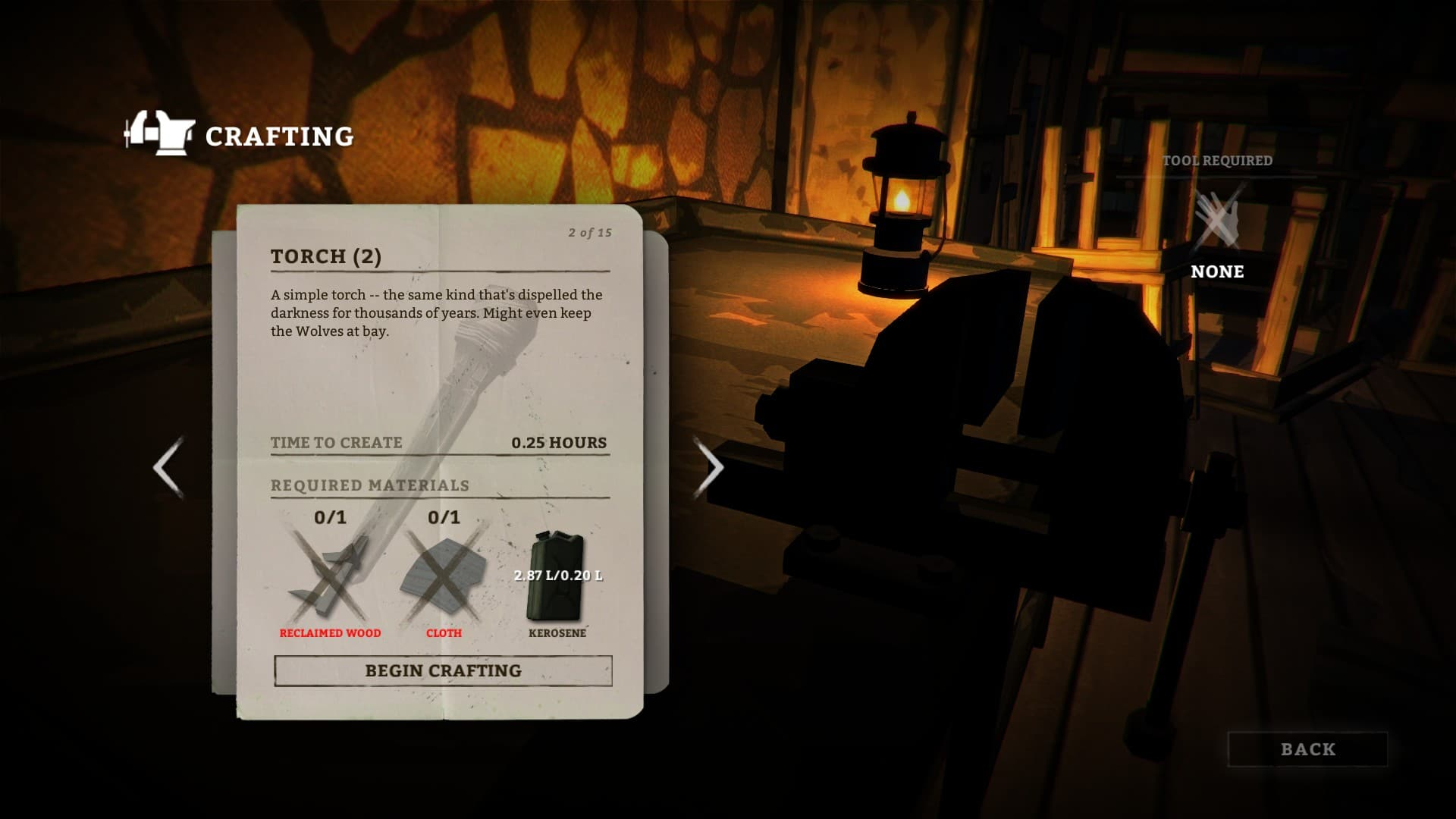 Pochodnię można także uzyskać wyciągając kawałek drewna z ogniska.